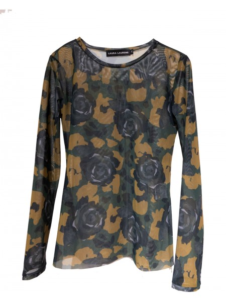 Roses and Camo Tulle Top